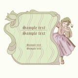 Fairy. Wood fairy with decor green frame Stock Photos