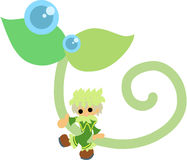 Fairy of the young leave. The fairy of a young leave symbolizing environment and nature Stock Photography