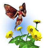 Fairy with Zinnias - includes clipping path. 3D render of a fairy with zinnias Royalty Free Stock Images