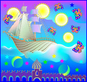 Fairyland fantasy ship in wonderland. Stock Image