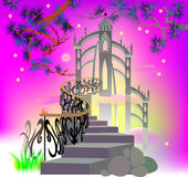 Fairyland stairs leading to the magic castle. Stock Photos
