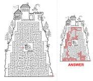 Fairytail-Schlosslabyrinth für Kinder in Schwarzweiss Stockbilder