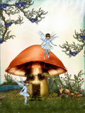 Fairytale. In the forest with mushroom house Stock Photos