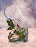Fairytale. In the sky with fae and moss stairway stock illustration