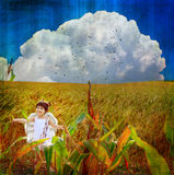 Fairytale. Little angel in the corn wheat field Royalty Free Stock Photos