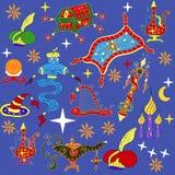 Fairytale Aladdin story theme elements. Jinn or genie, gold magic lamp like, flying carpet, treasure chest, harp, wizard hat, turban with gem, globe. Sketchy stock illustration