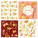 Fairytale Aladdin story theme elements. Jinn or genie, gold magic lamp like, flying carpet, treasure chest, harp, wizard hat, turban with gem, globe.Sketchy stock illustration