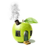 Fairytale apple house. Illustration of green fairytale apple house with smoking chimney, white background Stock Photo