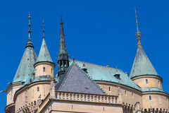 Fairytale Сastle Bojnice, Slovakia.  Dome and tower of  roof Stock Photo
