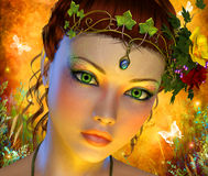 Fairytale background with woman closeup face. 3D graphic render illustration Royalty Free Stock Photo