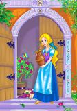 Fairytale beautiful heroine. Vertical  digital colorful medieval fairytale  illustration with pretty young blond woman standing at the door of a lovely house Royalty Free Stock Photo