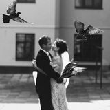 Fairytale beautiful sexual bride kissing handsome groom with bir Royalty Free Stock Photo