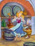 Fairytale beauty  in the cellar. Illustration to east European  folk fairytale Stock Photos