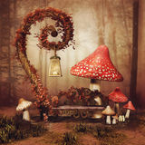Fairytale bench and mushrooms Royalty Free Stock Photos