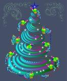 Fairytale birds flying around fantasy Christmas tree. Stock Image
