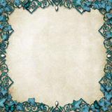 Fairytale Border with vines & butterflies. Ornate fairytale style border with vines & butterflies on parchment stock images