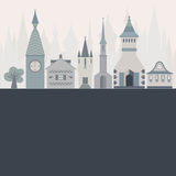 Fairytale card. Template for an invitation or card with beautiful castles made in flat style. Vector fairytale illustration Royalty Free Stock Images
