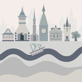 Fairytale card. Vector illustration of a fairytown with different castles, river and ship Stock Images