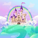 FairyTale cartoon castle. Cute cartoon castle. Fantasy fairy tale palace with rainbow. Vector illustration.  royalty free illustration