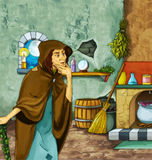 Fairytale cartoon character - Old witch in the old room Stock Images