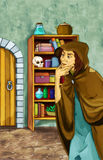 Fairytale cartoon character - Old witch in the old room Royalty Free Stock Photos