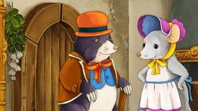 Fairytale cartoon scene with dressed mole and a mouse Stock Photos