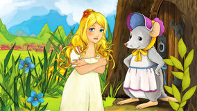 Fairytale cartoon scene with dressed  mouse and a girl Stock Images