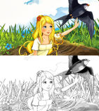Fairytale cartoon scene with an elf girl and the cuckoo Stock Photography