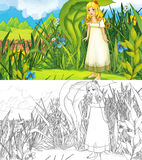 Fairytale cartoon scene with an elf girl in the grass Royalty Free Stock Photo