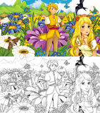Fairytale cartoon scene with an elf girl in the grass, cuckoo and the prince Stock Image