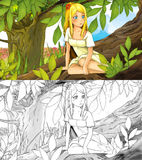 Fairytale cartoon scene with an elf girl on the tree Royalty Free Stock Image