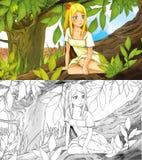 Fairytale cartoon scene with an elf girl on the tree Royalty Free Stock Image