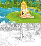 Fairytale cartoon scene with an elf girl on the water Royalty Free Stock Photography