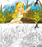 Fairytale cartoon scene with a girl in the grass and a cuckoo Royalty Free Stock Photo