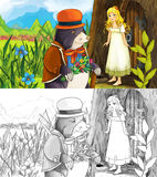 Fairytale cartoon scene with girl and a mole Stock Images