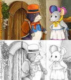 Fairytale cartoon scene with a mole and the mouse Stock Image
