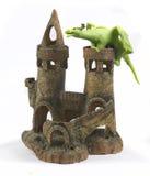 Fairytale castle. Fabulous toy castle with a dragon Stock Photos