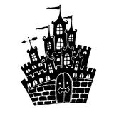 Fairytale Castle. Black silhouette of the castle with the gates, Stock Photography