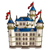Fairytale castle with blue roof and red flags. In cartoon design. Vector illustration  on a white background Stock Images