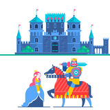 Fairytale castle. Characters Prince and Knight. Vector Illustrations Stock Photo