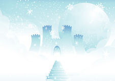 Fairytale castle in clouds. Stairs leading to frosty fantasy castle above clouds Stock Images
