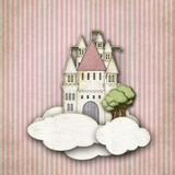 Fairytale castle in the clouds striped background vector illustration