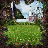 Fairytale Castle. 3D rendering of a romantic fairytale castle in an idyllic landscape framed by thorny vines royalty free stock image
