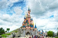 Fairytale Castle in France. Disney Castle on a bright sunny day Royalty Free Stock Image