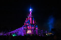 Fairytale Castle in France. Disney Castle painted with lights and the number '20', celebrating Paris Disneyland's 20th anniversary Stock Image