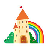 Fairytale castle with fruit trees and a rainbow. Royalty Free Stock Photo