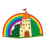 Fairytale castle with fruit trees and a rainbow. Royalty Free Stock Photography