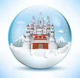 Fairytale castle in the glass sphere Stock Photos