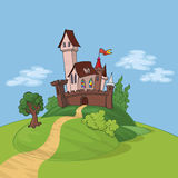Fairytale castle on the hill Stock Photo