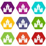 Fairytale castle icon set color hexahedron. Fairytale castle icon set many color hexahedron isolated on white vector illustration Stock Photos